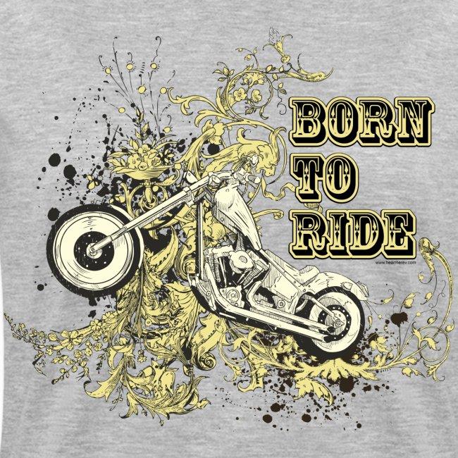 Born to Ride on Grey V-Neck