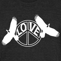 Love Peace & Eagles Men's Tri-Blend Vintage T-Shirt by American Apparel