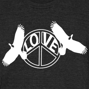 Love Peace & Eagles Men's Tri-Blend Vintage T-Shirt by American Apparel - Unisex Tri-Blend T-Shirt