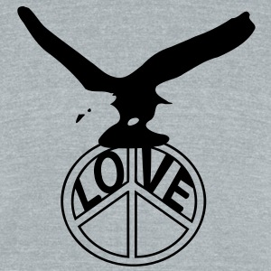 Love Peace & Eagle Men's Tri-Blend Vintage T-Shirt by American Apparel - Unisex Tri-Blend T-Shirt