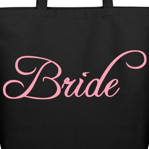Fun Pink Bride Text Elegant Word Graphic Design for Bachelor Parties, Hen Party, Stag and Does, Bridal Party and Wedding Showers TShirts Bags  - Eco-Friendly Cotton Tote