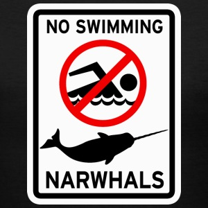 Narwhals - No Swimming Women's T-Shirts - Women's V-Neck T-Shirt