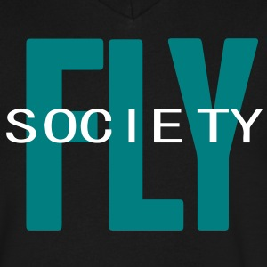FLY SOCIETY T-Shirts - Men's V-Neck T-Shirt by Canvas