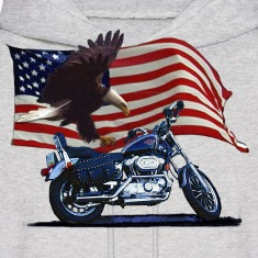 Wild & Free - Patriotic Eagle, Motorbike & US Flag