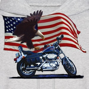 Wild & Free - Patriotic Eagle, Motorbike & US Flag - Men's Hoodie
