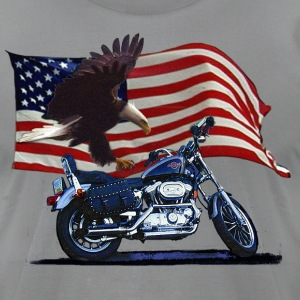 Wild & Free - Patriotic Eagle, Motorbike & US Flag - Men's T-Shirt by American Apparel