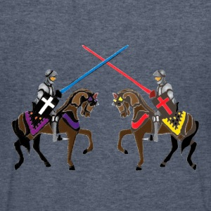 jousting knights medieval  patjila2  T-Shirts - Men's V-Neck T-Shirt by Canvas