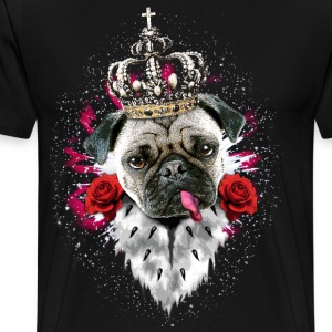 Pug Mops King Queen Heart Roses tongue Luxury Dog  - Men's Premium T-Shirt