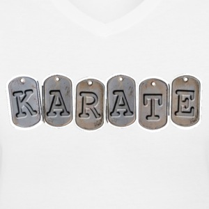 Martial Arts Ladies Shirt Karate Millitary design - Women's V-Neck T-Shirt