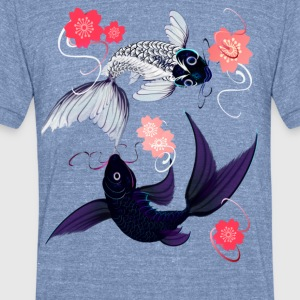 Yin and Yang Koi with Cherrry Blossoms - Unisex Tri-Blend T-Shirt by American Apparel