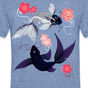 Yin and Yang Koi with Cherrry Blossoms - Unisex Tri-Blend T-Shirt