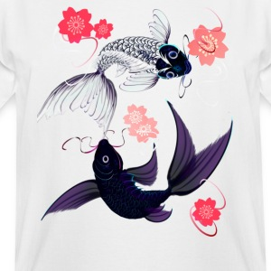Yin and Yang Koi with Cherrry Blossoms - Men's Tall T-Shirt