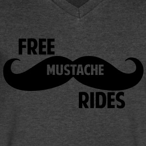 Free Mustache Rides T-Shirts - Men's V-Neck T-Shirt by Canvas