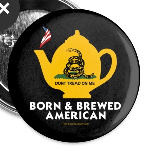 Tea Pot - Born & Brewed American - black button - Large Buttons