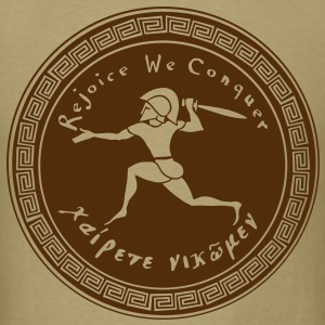 Rejoice We Conquer -  Men's 1 Color on Khaki - Men's T-Shirt