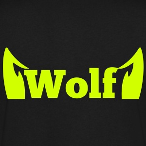 wolf in type with cute ears T-Shirts - Men's V-Neck T-Shirt by Canvas