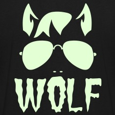 wolf face man with type and aviator sunglasses good halloween costume T-Shirts