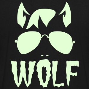 wolf face man with type and aviator sunglasses good halloween costume T-Shirts - Men's V-Neck T-Shirt by Canvas