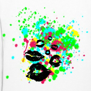Paint Splatter Graffiti Lip Kisses Graphic Hoodie | Women and Teen Girls Colorful Multi Color Sweatshirt - Women's Hoodie