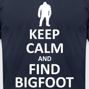 Keep Calm and Find Bigfoot (White) - Men's - Men's T-Shirt by American Apparel