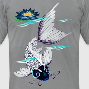 White Koi-Blue Lily - Men's T-Shirt by American Apparel