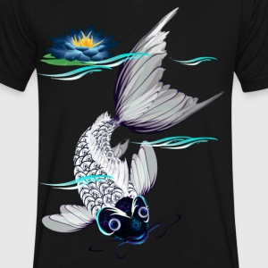White Koi-Blue Lily - Men's V-Neck T-Shirt by Canvas