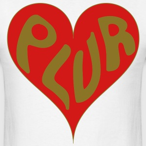 PLUR - Peace love unity & respect heart T-Shirts - Men's T-Shirt