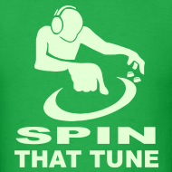 Design ~ DJ Spin that Tune raver t-shirt Glow in the dark