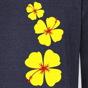 three hibiscus tropical flowers in a row down Long Sleeve Shirts - Women's Wideneck Sweatshirt