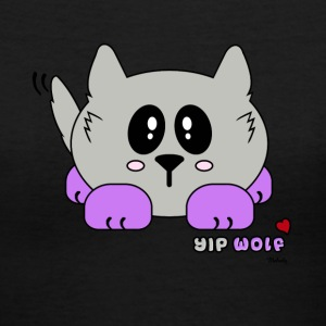 Yip Wolf Pudgie Pet - Designs by Melody Women's T-Shirts - Women's V-Neck T-Shirt