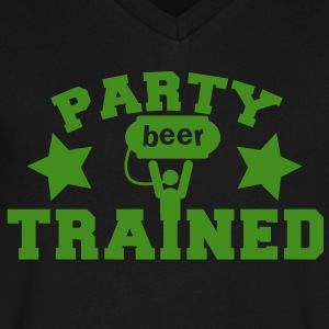 PARTY TRAINED with man and a beer keg  T-Shirts - Men's V-Neck T-Shirt by Canvas