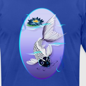 White Koi-Blue Lily Oval - Men's T-Shirt by American Apparel