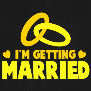 I'M GETTING MARRIED with cute love hearts and rings T-Shirts - Men's V-Neck T-Shirt by Canvas