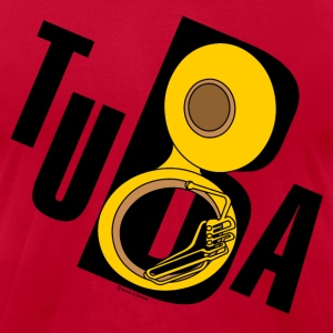 Slanted Tuba Text T-Shirts - Men's T-Shirt by American Apparel