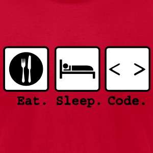 eat sleep code Nerd Wear T-Shirts - Men's T-Shirt by American Apparel