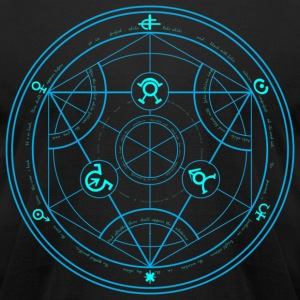 Human Transmutation Circle and Formula - No Glow - Reverse - Men's T-Shirt by American Apparel