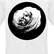 Design ~ Mens Black and White Rose Circle Street Style Fashion T-Shirt