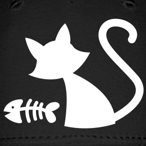 Simple kitty Cat with Fish bones Caps - Baseball Cap