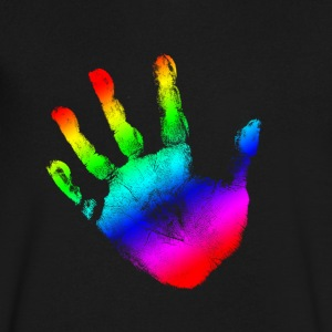Hand print - Rainbow - Imprint, Fingerprint, palm, high five perfect for hoodies, tshirts, tanks, iphone cases, ipad cases, etc!  T-Shirts - Men's V-Neck T-Shirt by Canvas