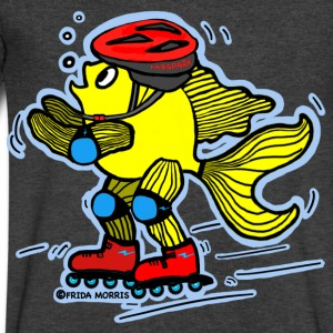 Rollerblading fish , blue background - Men's V-Neck T-Shirt by Canvas
