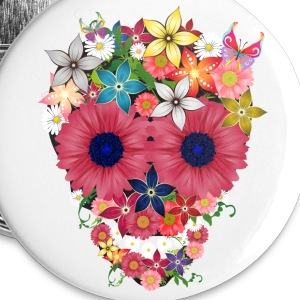skull flowers by wam Buttons - Large Buttons