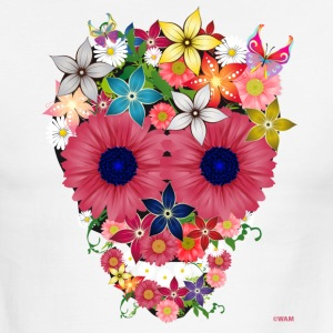 skull flowers by wam T-Shirts - Men's Ringer T-Shirt