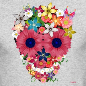 skull flowers by wam Long Sleeve Shirts - Men's Long Sleeve T-Shirt by Next Level