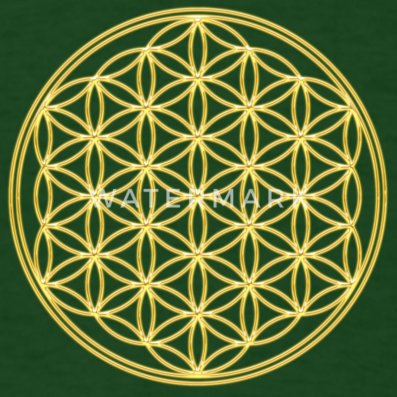 Flower of Life - Gold - FEEL THE ENERGY! Sacred Geometry, Healing Symbol, Energy Symbol, Harmony, Balance T-Shirts - Men's T-Shirt