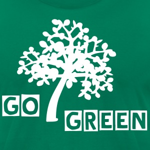 GO GREEN  txt Trees Men's T-Shirt by American Apparel - Men's T-Shirt by American Apparel