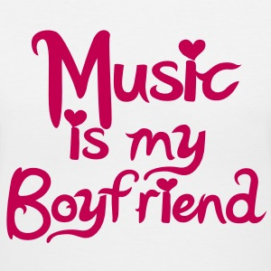 Music is my Boyfriend Vector Women's T-Shirts - Women's V-Neck T-Shirt