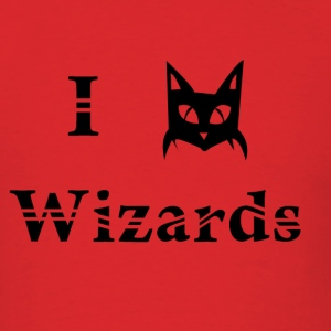 i love wizards black cat magic witchcraft pagan wicca - Men's T-Shirt