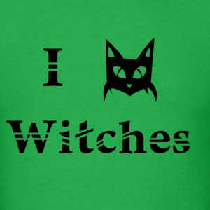 i love witches black cat magic witchcraft pagan wicca  - Men's T-Shirt