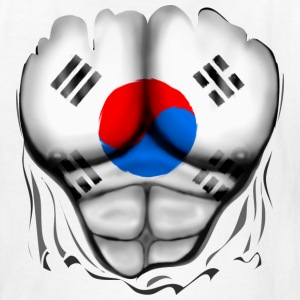 South Korea Flag Ripped Muscles, six pack, chest t-shirt - Kids' T-Shirt