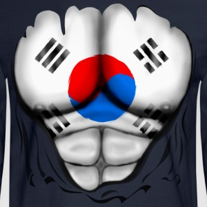 South Korea Flag Ripped Muscles, six pack, chest t-shirt - Men's Long Sleeve T-Shirt